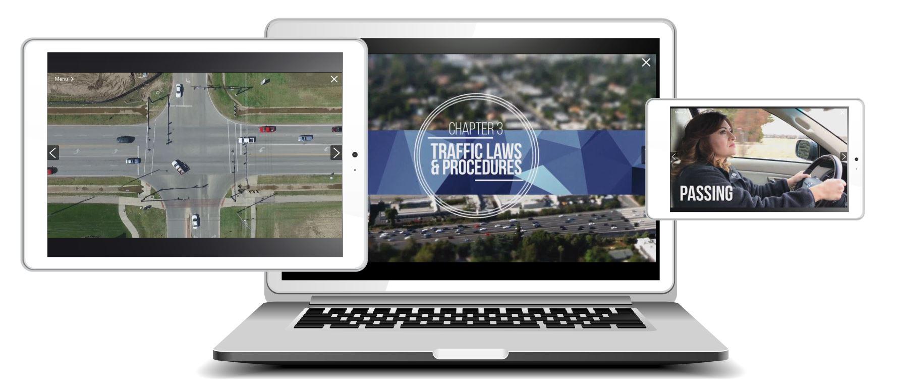 Drivesafe Online courses work on mobile, tablet, and desktop